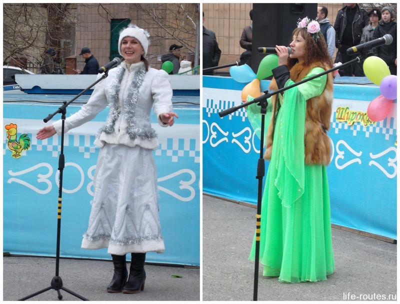 Ведущие праздника - зимушка-зима и цветущая весна