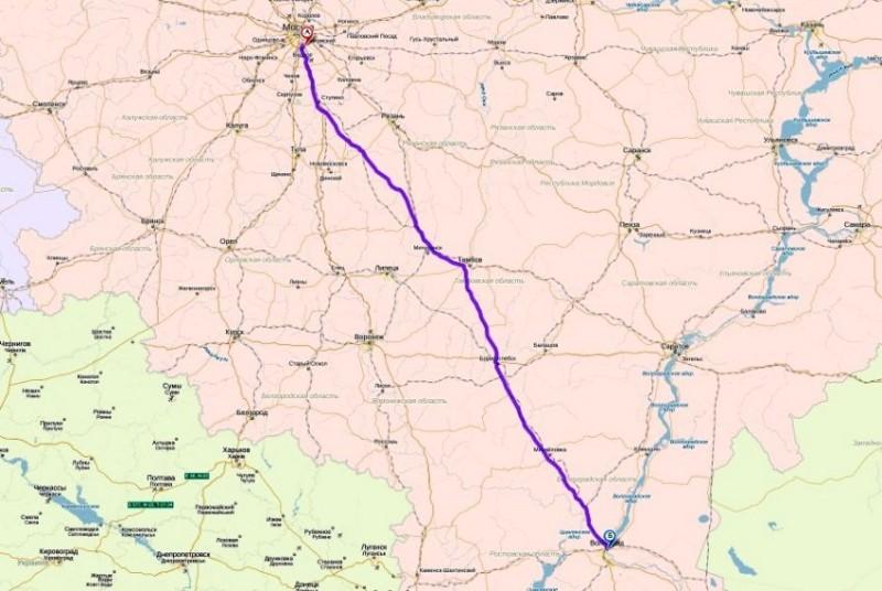 Пример маршрута из Москвы до Волгограда