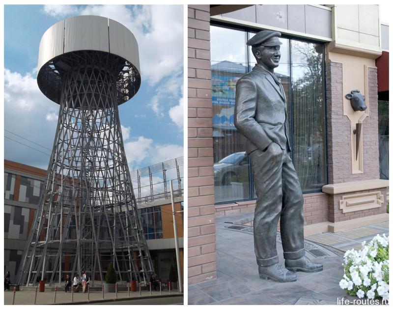 Шуховская башня и памятник О. Бендеру на Рашпилевской