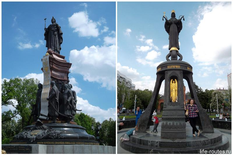 Памятник Екатерине II (слева) начинает ул. Красную, а памятник вмч. Екатерины (справа) ее завершает