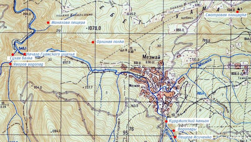 Карта окрестностей поселка Мезмай