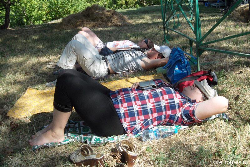 Заняли самые лучшие места в тени деревьев и решили немного передохнуть