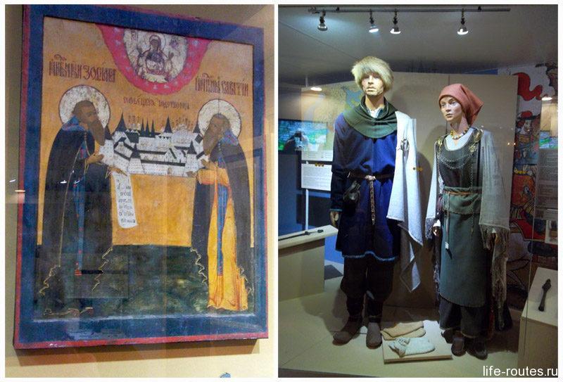 Основатели Соловецкого монастыря (икона) слева и национальные костюмы карел XII века справа