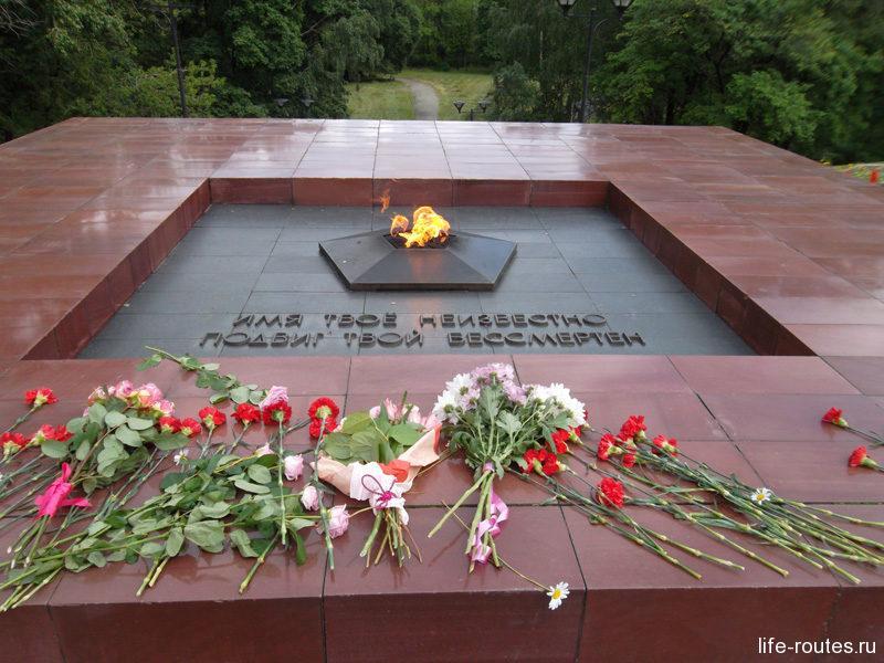 """Утопающий в цветах мемориальный комплекс """"Могила неизвестного солдата и вечный огонь"""""""