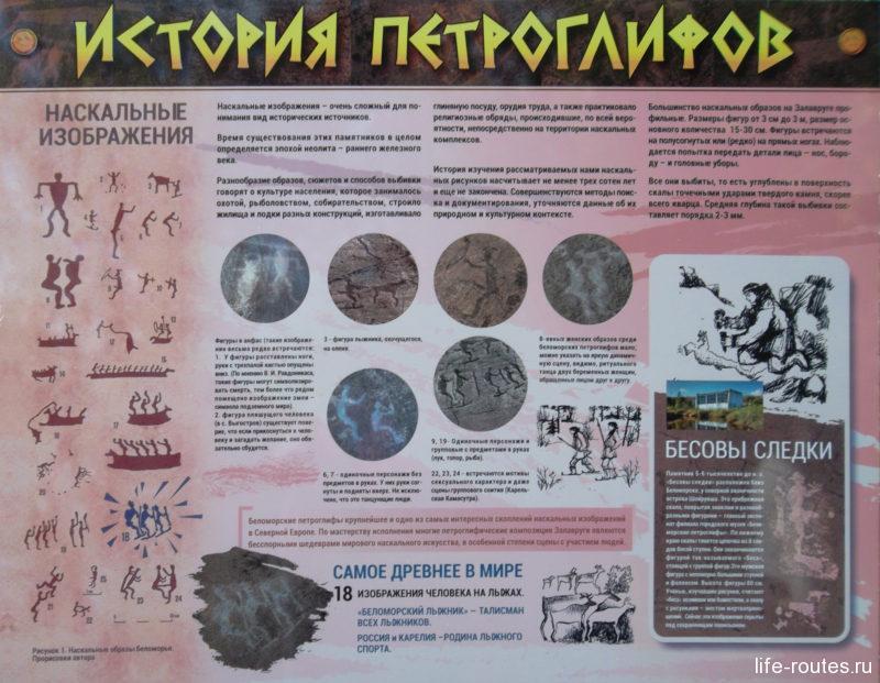 На стендах можно прочитать информацию об исследованиях петроглифов, а также узнать, что обозначают рисунки (щелкни, чтобы увеличить)