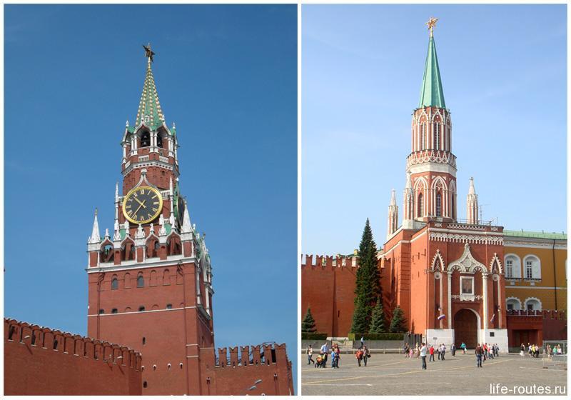 Спасская и Никольская башни - самые известные башни Московского Кремля